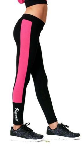 PINEAPPLE DANCEWEAR Girls Dance Leggings Black/Pink Animal Print / Mesh Panels